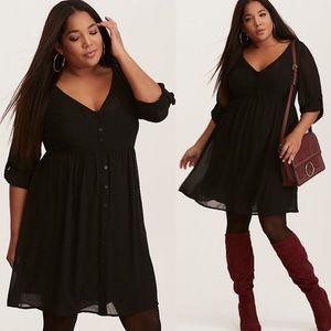 NWT Torrid Black Chiffon Shirt Dress Size 1X